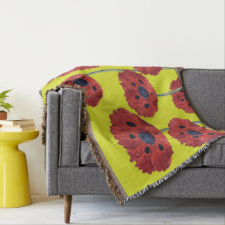 Red Poppies On Yellow Throw Blanket