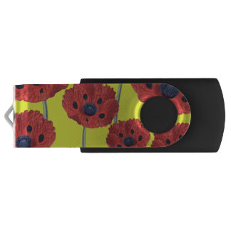 Red Poppies On Yellow USB Flash Drive