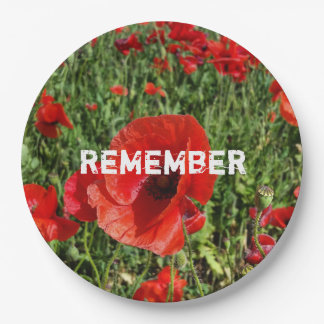 Red Poppies Paper Plate