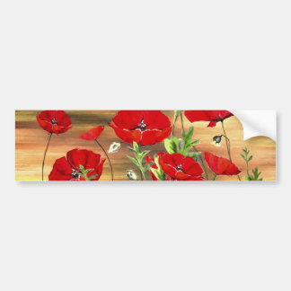 Red Poppies Paper Products Greeting Cards Car Bumper Sticker