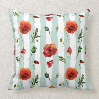 Red Poppies & Pastel Blue Stripes Modern Pattern Throw Pillow