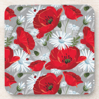 Red poppies pattern drink coaster