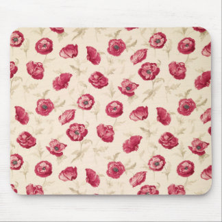 Red poppies pattern mousepad