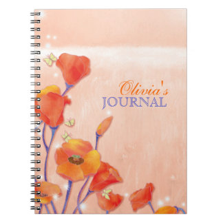 Red Poppies Personal or Business Journal Spiral Note Books