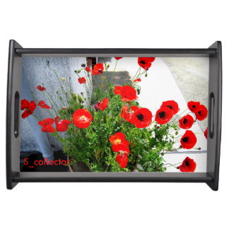 Red Poppies photo tray Service Trays