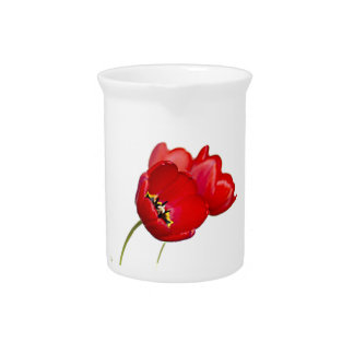 Red Poppies Poppy Flower Yellow Center Photograph Pitcher