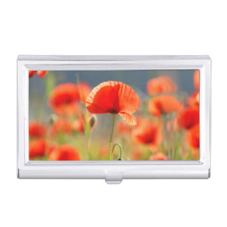 Red Poppies Poppy Flowers  Blue Sky Business Card Holder