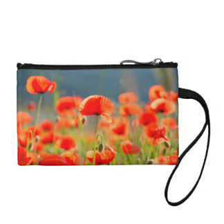 Red Poppies Poppy Flowers  Blue Sky Coin Purse