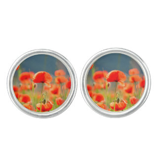 Red Poppies Poppy Flowers Blue Sky Cuff Links