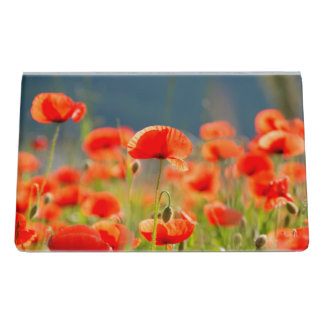 Red Poppies Poppy Flowers  Blue Sky Desk Business Card Holder
