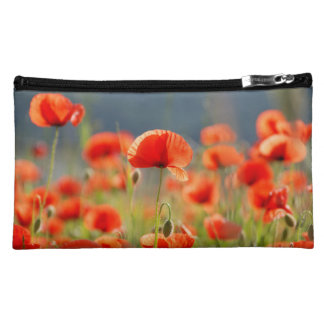 Red Poppies Poppy Flowers  Blue Sky Makeup Bag
