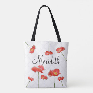 Red Poppies Simple and Beautiful Personalized Tote Bag