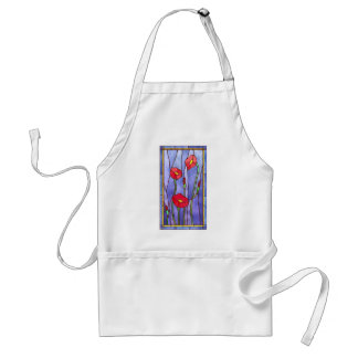 Red Poppies Stained Glass Look Standard Apron