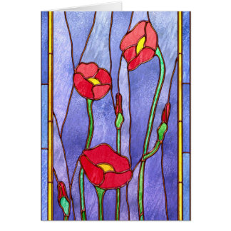 Red Poppies Stained Glass Look Greeting Card