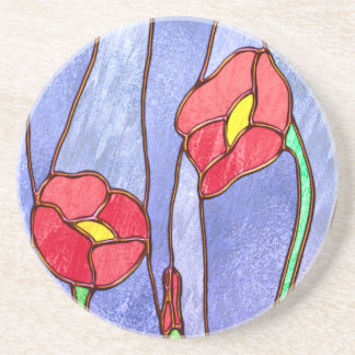 Red Poppies Stained Glass Look Coaster