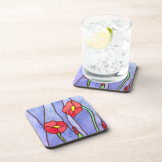 Red Poppies Stained Glass Look Drink Coasters
