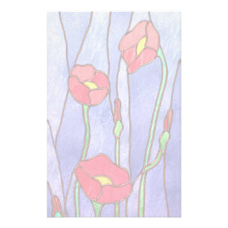 Red Poppies Stained Glass Look Customized Stationery