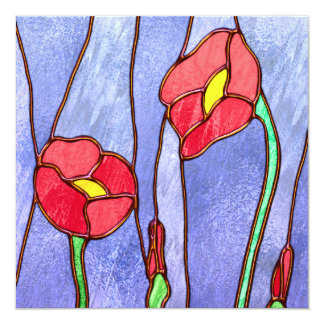 Red Poppies Stained Glass Look 13 Cm X 13 Cm Square Invitation Card