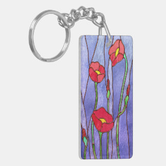 Red Poppies Stained Glass Look Double-Sided Rectangular Acrylic Key Ring