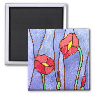 Red Poppies Stained Glass Look Magnet