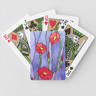 Red Poppies Stained Glass Look Bicycle Poker Deck