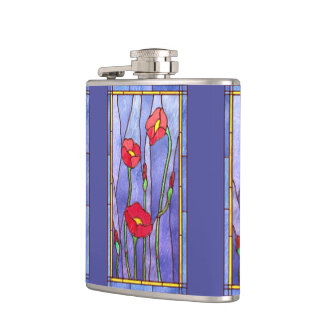 Red Poppies Stained Glass Look Flasks