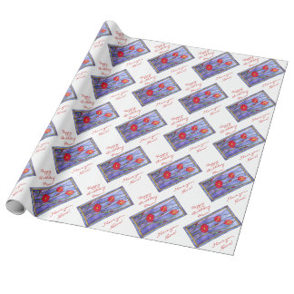 Red Poppies Stained Glass Look Gift Wrap Paper