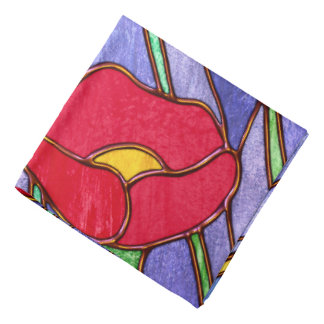 Red Poppies Stained Glass Look Bandannas
