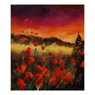 Red poppies sunset 76 poster