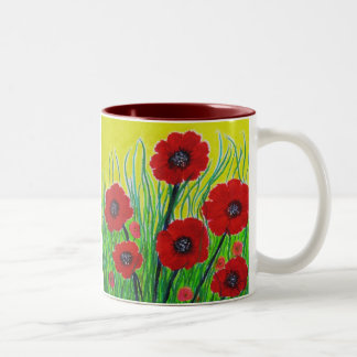 Red Poppies Two-Tone Coffee Mug