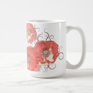 Red Poppies Ver. B & Black Trills Basic White Mug