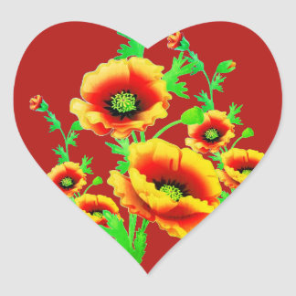 Red Poppies, vibrant floral heart-shaped love Heart Sticker