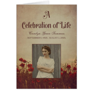 Red Poppies Vintage Funeral Program Card