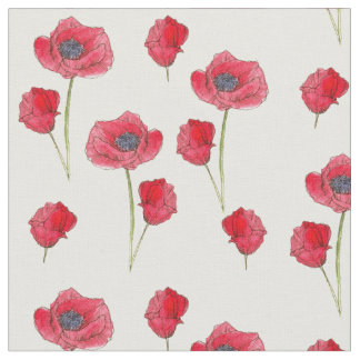 Red Poppies Watercolor Wildflowers Botanical Art Fabric