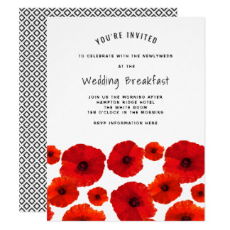 Red Poppies Wedding Breakfast Invitation