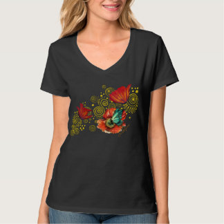 Red Poppies with Blue Butterfly T-Shirt