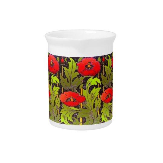 Red Poppu Art Nouveau Porcelain Pitcher