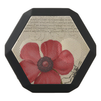 Red Poppy And The Bug Black Bluetooth Speaker