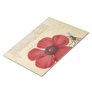 Red Poppy And The Bug Notepad