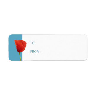 Red Poppy aqua Small Gift Tag Return Address Label