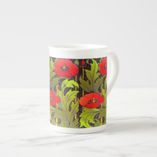 RED POPPY ART NOUVEAU BONE CHINA MUG