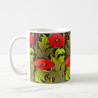 Red Poppy Art Nouveau Classic Mug