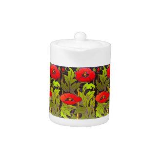 Red Poppy Art Nouveau Porcelain Teapot