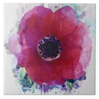 Red Poppy Ceramic Tile L #1