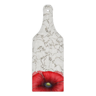 Red Poppy cluster on marble Glass Chopping Paddle Cutting Boards