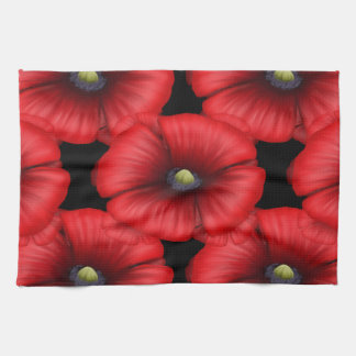 Red Poppy cluster pattern Kitchen Towel