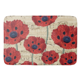 red poppy dream bath mat