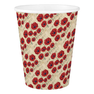 red poppy dream paper cup