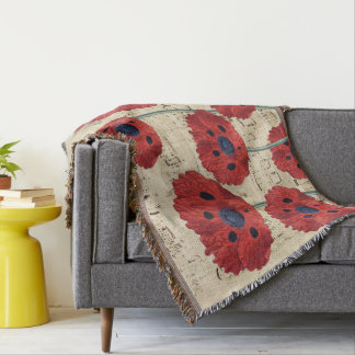 red poppy dream throw blanket
