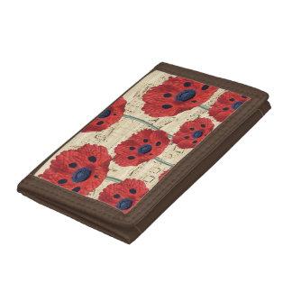 red poppy dream tri-fold wallets